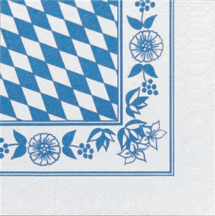 Duni Zelltuch Servietten 33x33 3lg 1/4 Bayern Raute - 4x250 Stück