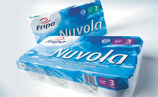 Fripa Toilettenpapier Nuvola 2-lagig - hochweiss - 8x250 Blatt 64 Rollen