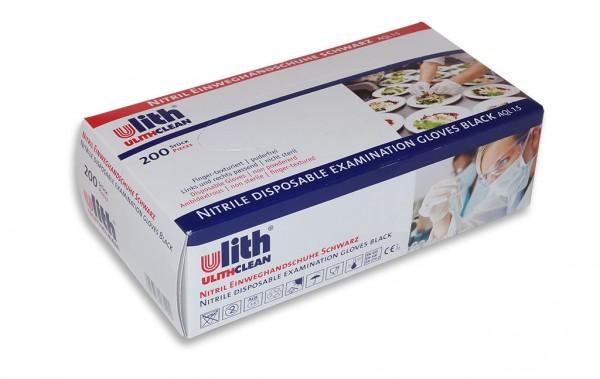 WBV Ulith-Nitril-Einweghandschuhe in Größe L, schwarz, puderfrei, Typ 37, AQL 1.5