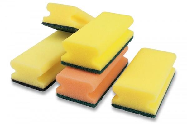 10x Padschwamm - Reinigungsschwamm mit Griff - Groß - 150x90x45 mm (gelb/grün)