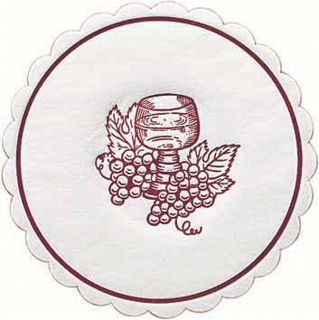 Duni Weinglasunters Ø 10cm, 8lg Traube bordeaux - 12x250 Stück