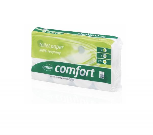Wepa Toilettenpapier Clou Comfort 3-lg. ( 1 Karton = 9 Packungen à 8 Rollen )