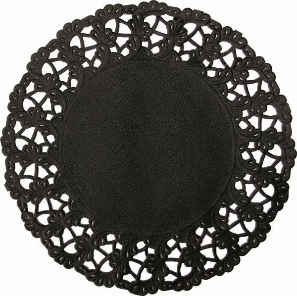 Duni Deko Spitzenpapier rund 12cm schwarz - 8x250 Stück