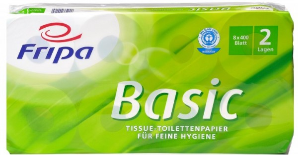 Fripa Toilettenpapier Basic 2-lagig - hochweiss - 8x400 Blatt 48 Rollen