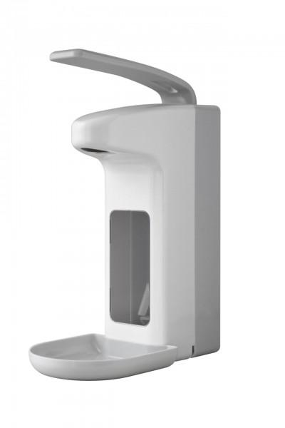 Euraneg Desinfektionsmittelspender Kunststoff für 500ml-Euroflaschen weiß mit Tropfschale