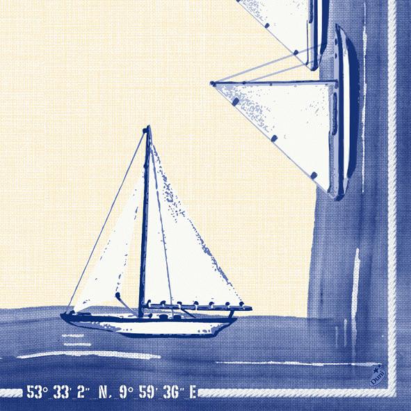 Duni Zelltuch Servietten 40x40 Klassik Sailing  - 6x50 Stück