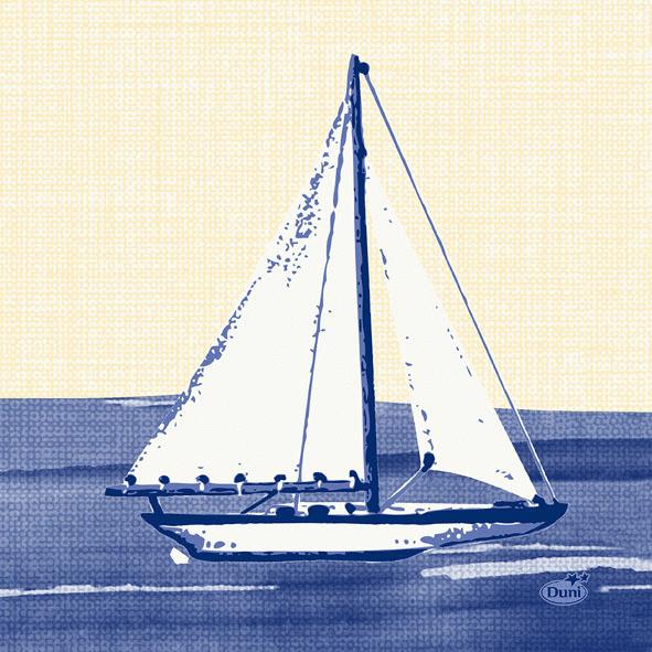 Duni Zelltuch Servietten 24x24 3lg 1/4 Sailing  - 8x250 Stück