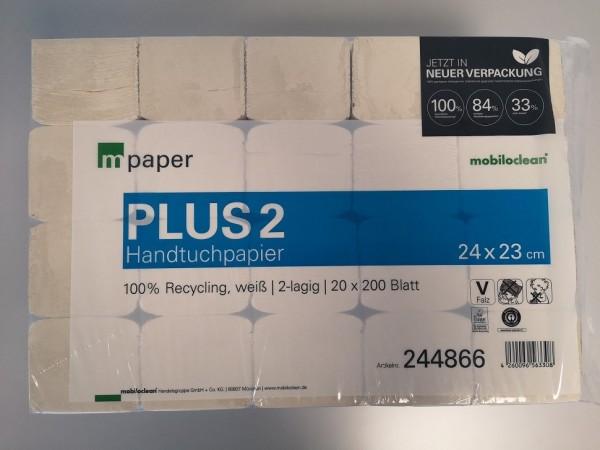 mpaper Handtuchpapier Plus² 2-lagig 24x23cm V-Falz ( 1 Packung = 4000 Blatt )