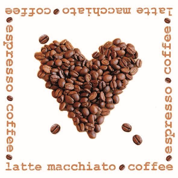 Duni Zelltuch Servietten 24x24 3lg 1/4 Coffee Heart  - 8x250 Stück
