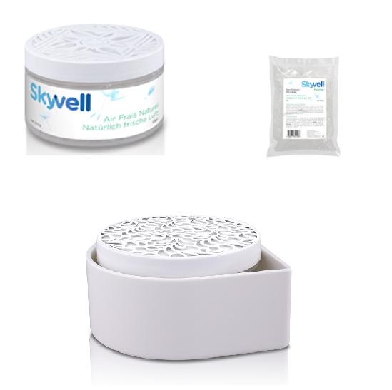 SET Skyvell 250 ml Gel, Nachfüllpack und Halterung