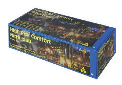 Ampri Einmalhandschuh - Nitril puderfrei - High Risk Comfort - XXL (blau)