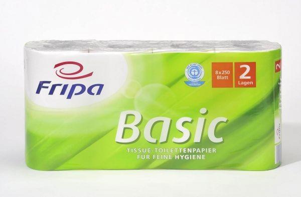 Cleanclub Toilettenpapier Basic 2-lagig - hochweiss - 8x250 Blatt 64 Rollen