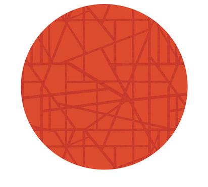 Duni Silicon Tischsets 35cm rund Maze mandarin - 5x6 Stück