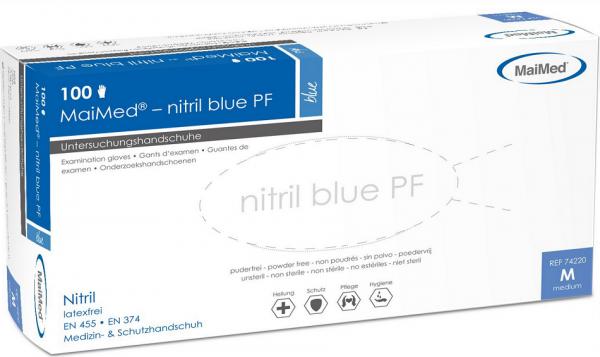 Einmalhandschuhe MaiMed-nitril PF Gr. XL, blau, unsteril ( 1 Box = 100 Stk. )
